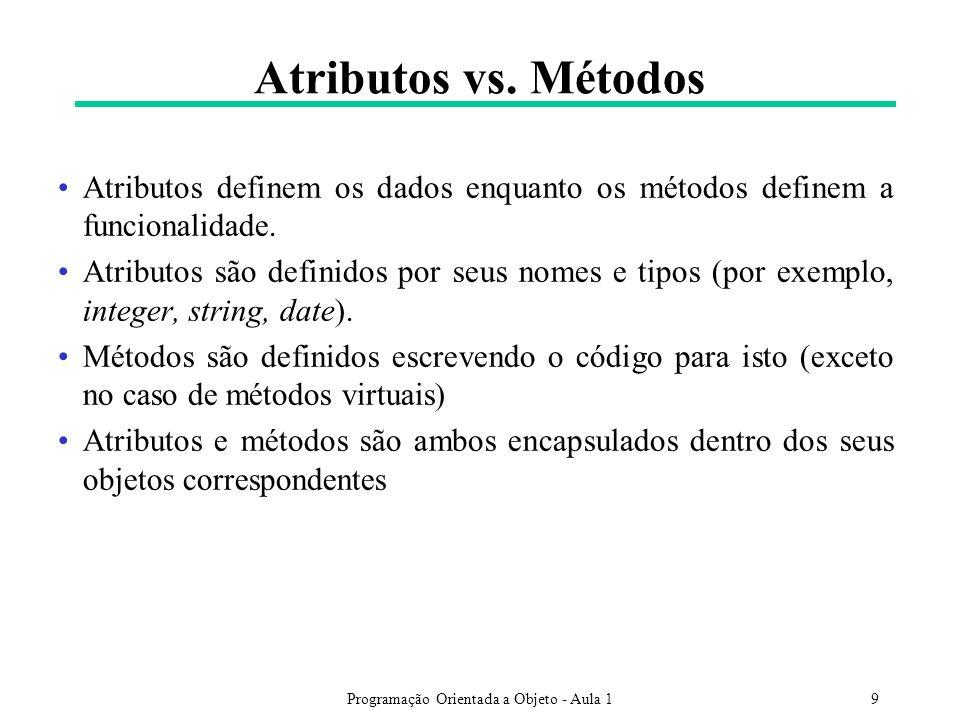 Programação Orientada a Objeto - Aula 19 Atributos vs. Métodos Atributos definem os dados enquanto os métodos definem a funcionalidade. Atributos são