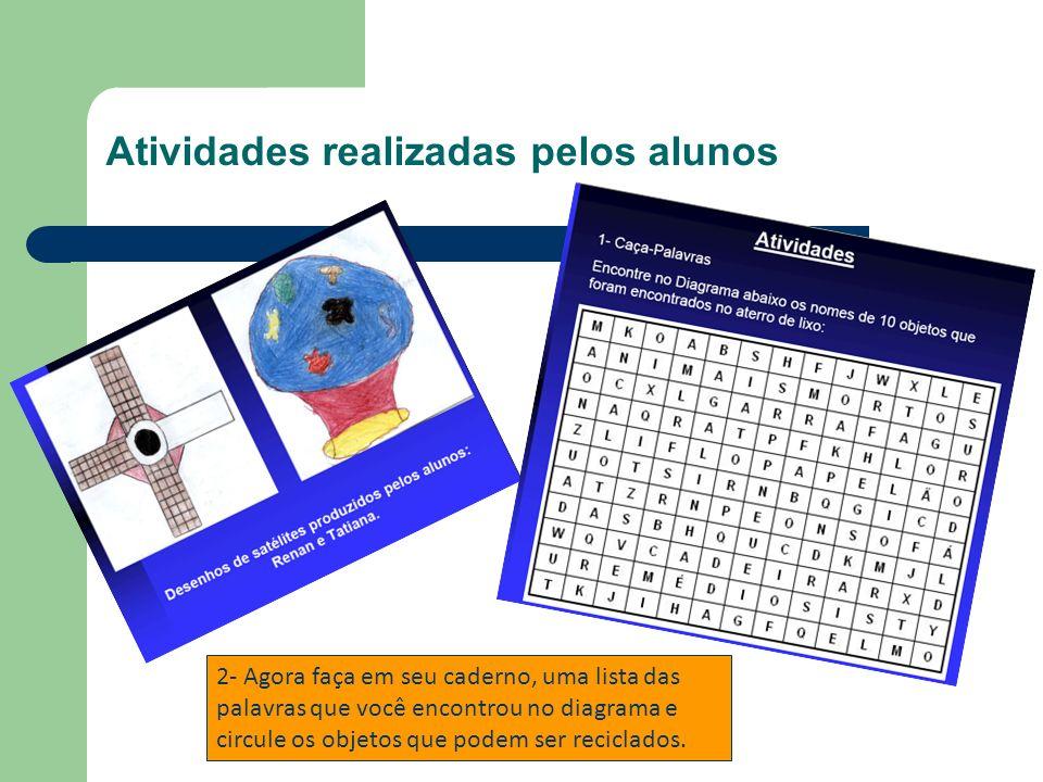 Atividades realizadas pelos alunos 2- Agora faça em seu caderno, uma lista das palavras que você encontrou no diagrama e circule os objetos que podem