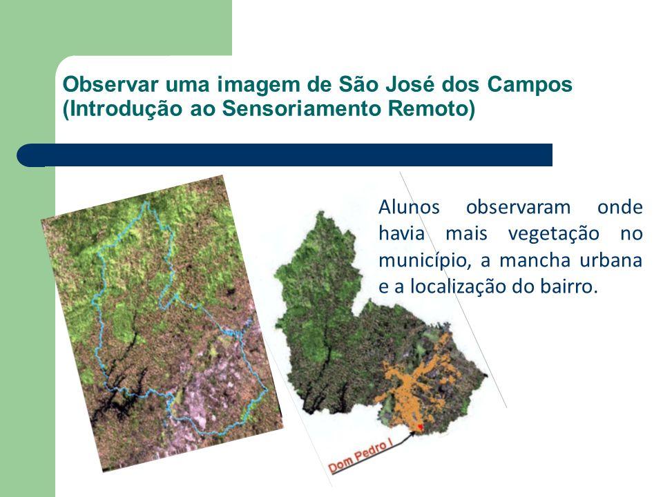 Observar uma imagem de São José dos Campos (Introdução ao Sensoriamento Remoto) Alunos observaram onde havia mais vegetação no município, a mancha urb