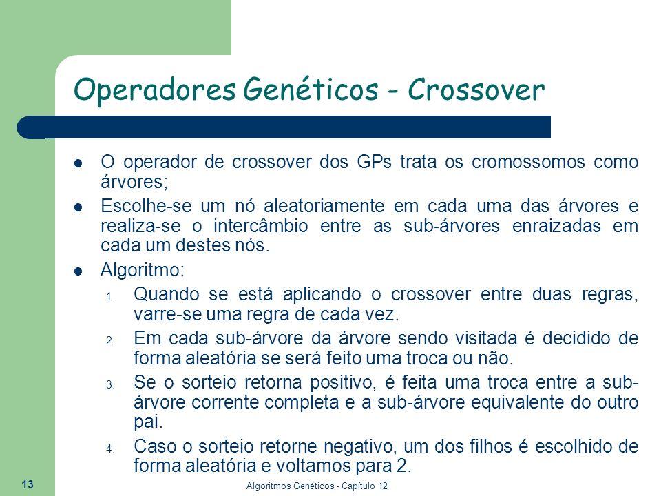 Algoritmos Genéticos - Capítulo 12 13 O operador de crossover dos GPs trata os cromossomos como árvores; Escolhe-se um nó aleatoriamente em cada uma d