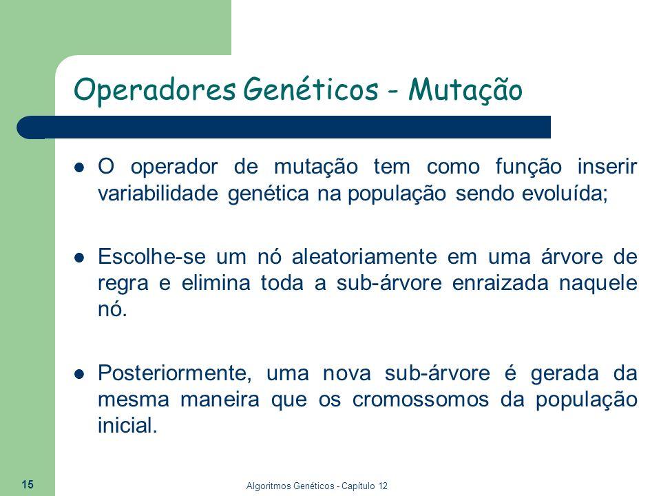 Algoritmos Genéticos - Capítulo 12 15 Operadores Genéticos - Mutação O operador de mutação tem como função inserir variabilidade genética na população