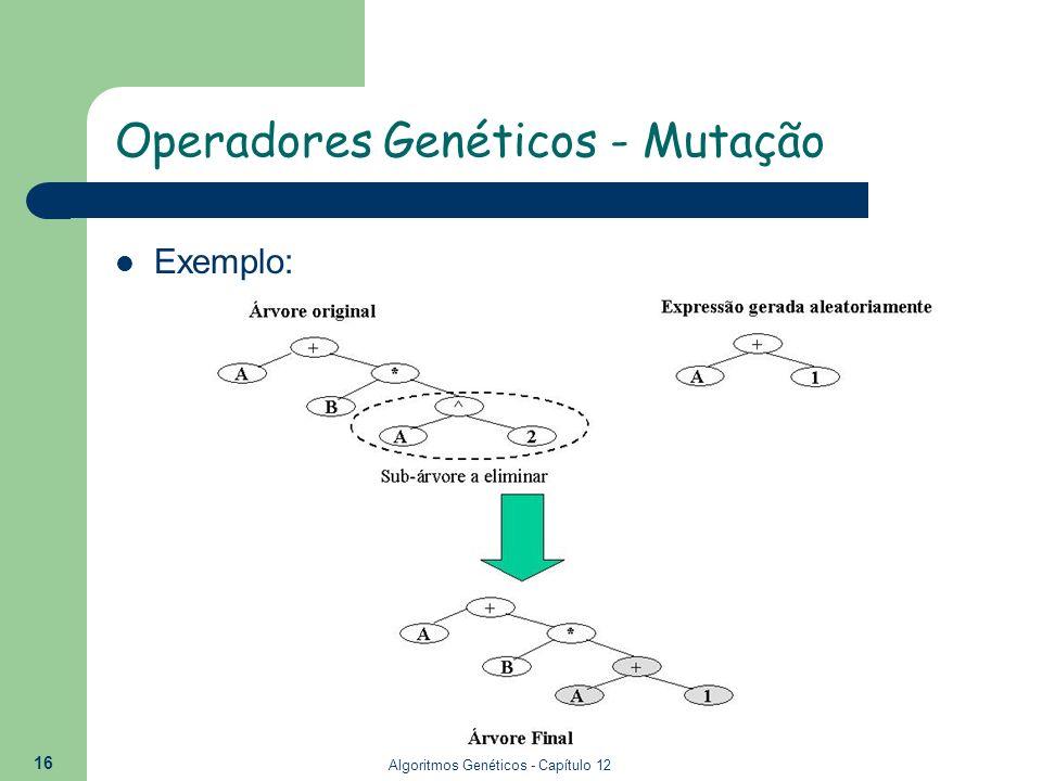 Algoritmos Genéticos - Capítulo 12 16 Exemplo: Operadores Genéticos - Mutação