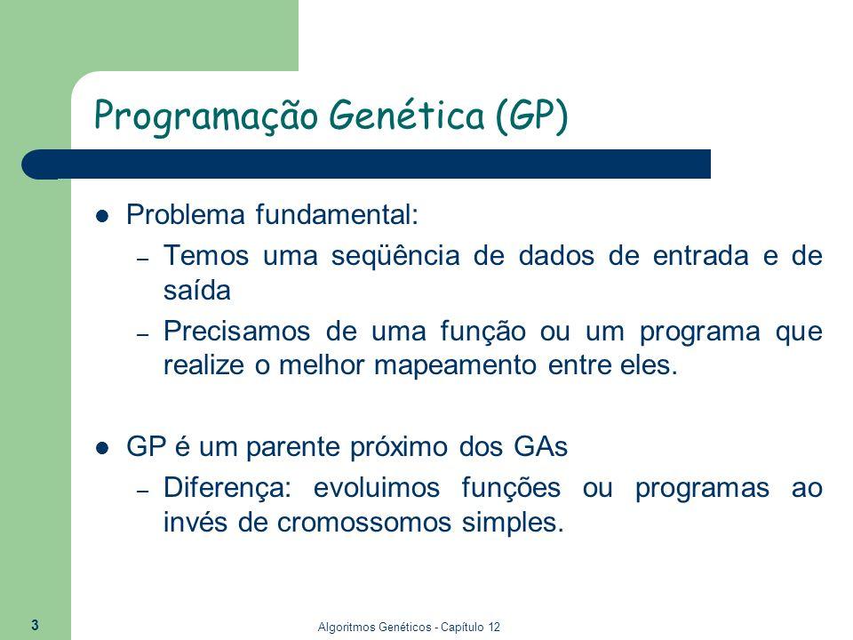 Algoritmos Genéticos - Capítulo 12 3 Programação Genética (GP) Problema fundamental: – Temos uma seqüência de dados de entrada e de saída – Precisamos