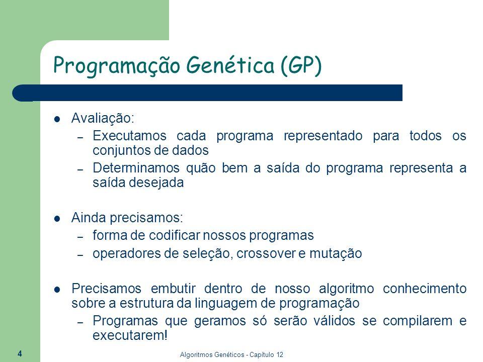 Algoritmos Genéticos - Capítulo 12 15 Operadores Genéticos - Mutação O operador de mutação tem como função inserir variabilidade genética na população sendo evoluída; Escolhe-se um nó aleatoriamente em uma árvore de regra e elimina toda a sub-árvore enraizada naquele nó.
