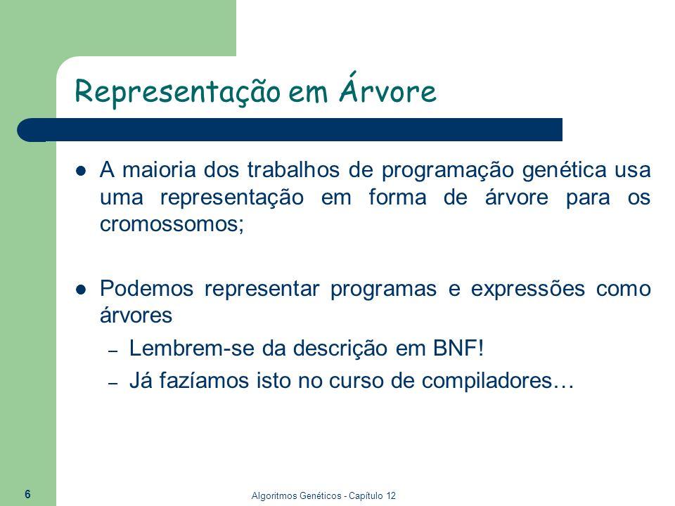 Algoritmos Genéticos - Capítulo 12 7 Expressões como árvores Descrição de expressões em BNF: – ::= | – ::= + | - | * | / |...