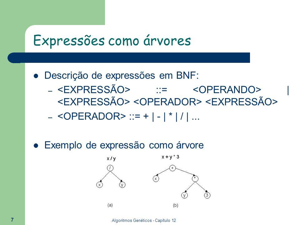 Algoritmos Genéticos - Capítulo 12 7 Expressões como árvores Descrição de expressões em BNF: – ::= | – ::= + | - | * | / |... Exemplo de expressão com