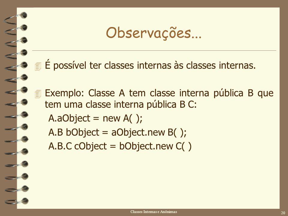 Classes Internas e Anônimas 20 Observações... 4 É possível ter classes internas às classes internas. 4 Exemplo: Classe A tem classe interna pública B
