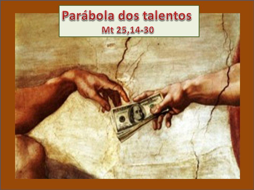 A parábola conta a história de um homem que, antes de viajar, distribuiu seus bens aos empregados, dando 5, 2 ou 1 talento, conforme a capacidade de cada um.