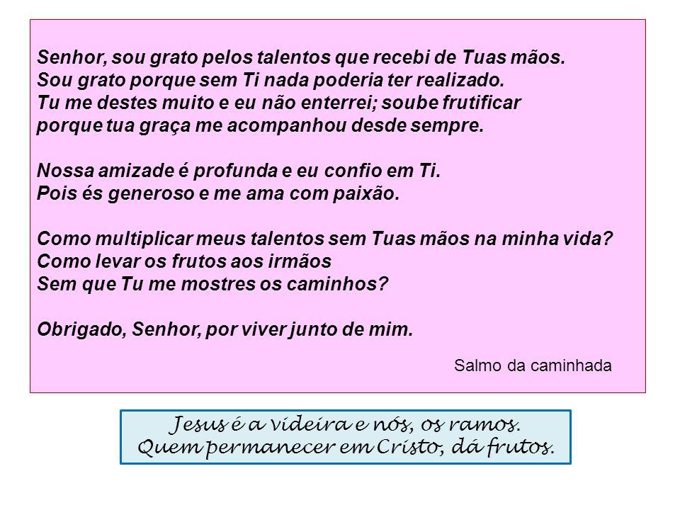 Jesus é a videira e nós, os ramos. Quem permanecer em Cristo, dá frutos. Senhor, sou grato pelos talentos que recebi de Tuas mãos. Sou grato porque se
