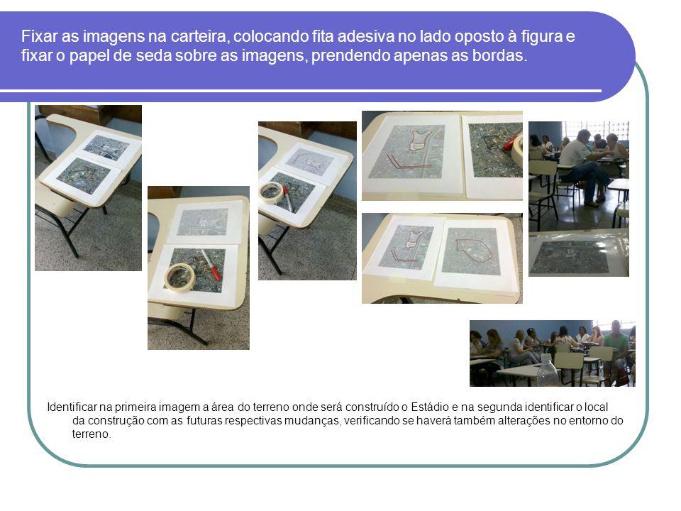 Fixar as imagens na carteira, colocando fita adesiva no lado oposto à figura e fixar o papel de seda sobre as imagens, prendendo apenas as bordas. Ide