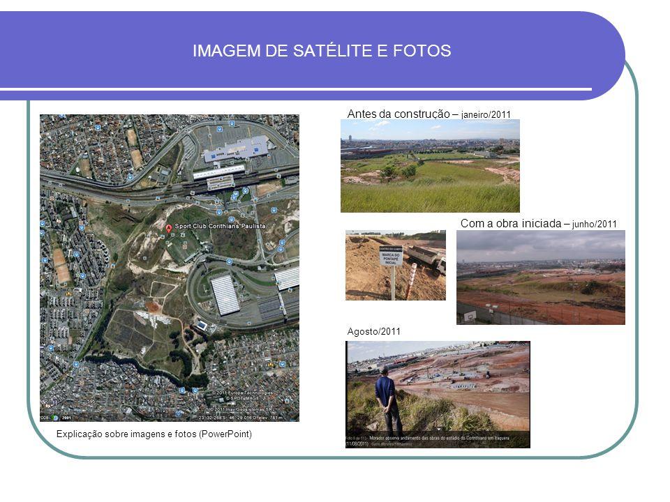 IMAGEM DE SATÉLITE E FOTOS Antes da construção – janeiro/2011 Com a obra iniciada – junho/2011 Agosto/2011 Explicação sobre imagens e fotos (PowerPoin