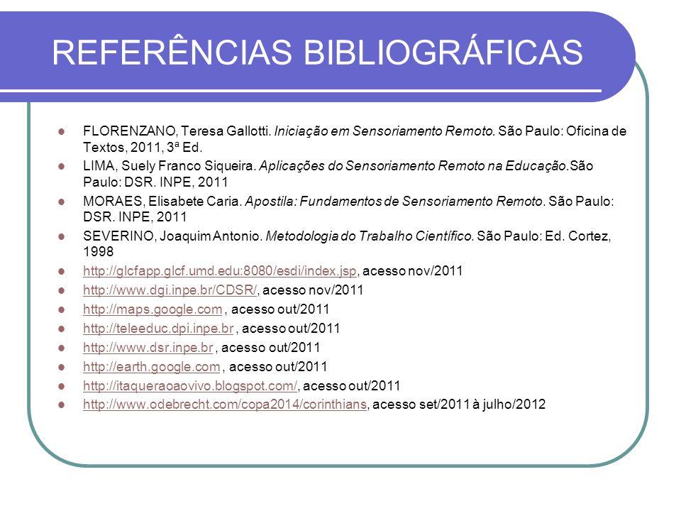 REFERÊNCIAS BIBLIOGRÁFICAS FLORENZANO, Teresa Gallotti. Iniciação em Sensoriamento Remoto. São Paulo: Oficina de Textos, 2011, 3ª Ed. LIMA, Suely Fran