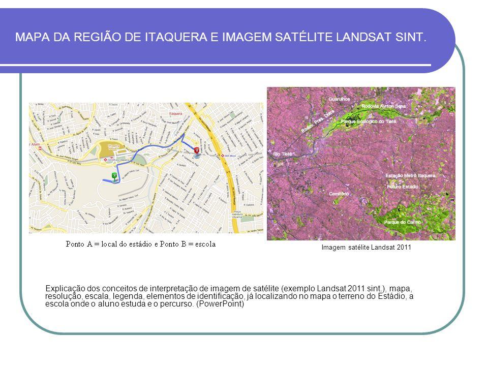 MAPA DA REGIÃO DE ITAQUERA E IMAGEM SATÉLITE LANDSAT SINT. Explicação dos conceitos de interpretação de imagem de satélite (exemplo Landsat 2011 sint.