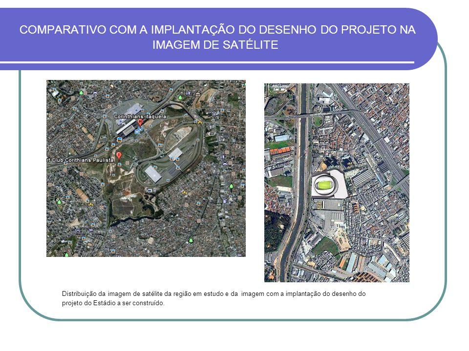 COMPARATIVO COM A IMPLANTAÇÃO DO DESENHO DO PROJETO NA IMAGEM DE SATÉLITE Distribuição da imagem de satélite da região em estudo e da imagem com a imp