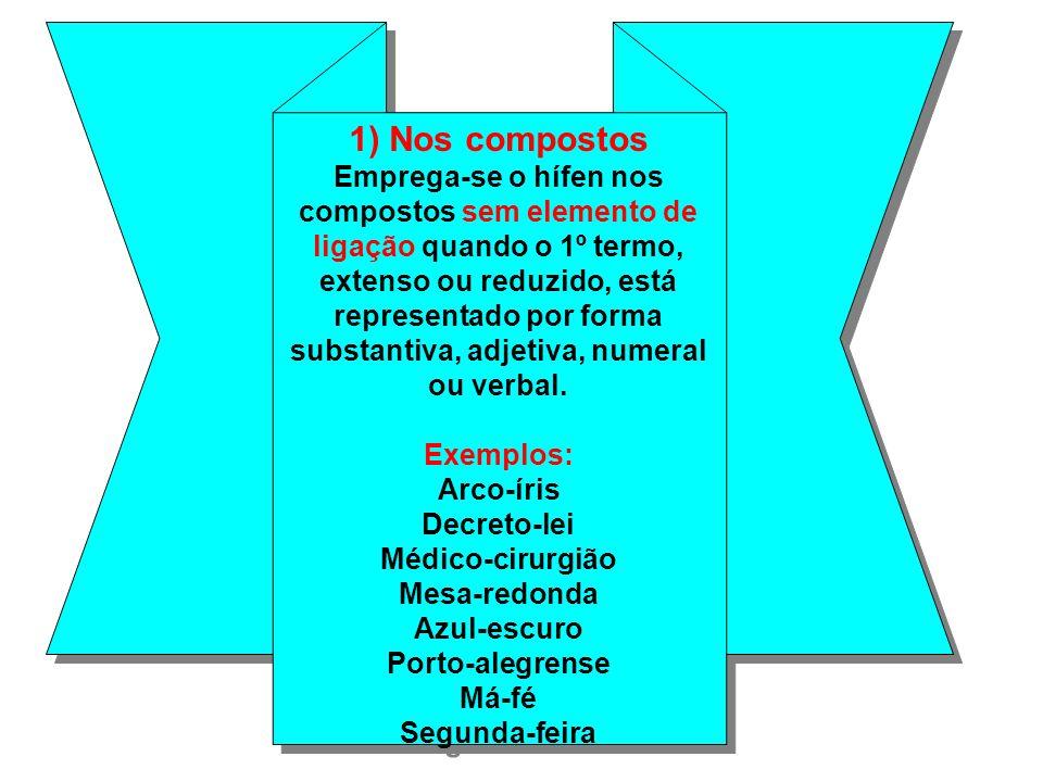 1) Nos compostos Emprega-se o hífen nos compostos sem elemento de ligação quando o 1º termo, extenso ou reduzido, está representado por forma substantiva, adjetiva, numeral ou verbal.