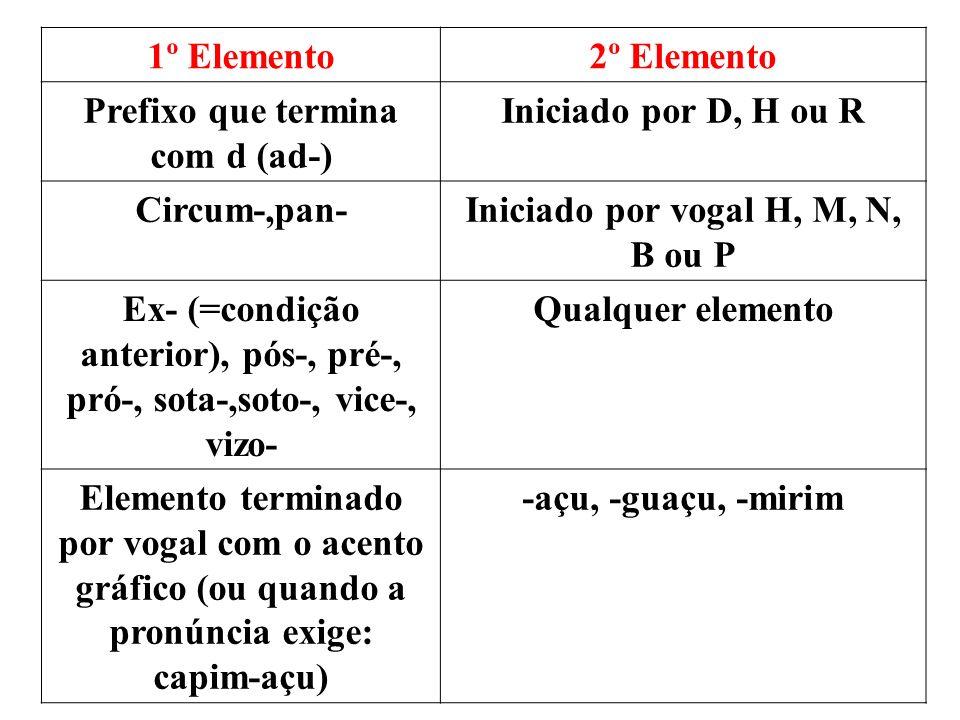 1º Elemento2º Elemento Prefixo que termina com d (ad-) Iniciado por D, H ou R Circum-,pan-Iniciado por vogal H, M, N, B ou P Ex- (=condição anterior), pós-, pré-, pró-, sota-,soto-, vice-, vizo- Qualquer elemento Elemento terminado por vogal com o acento gráfico (ou quando a pronúncia exige: capim-açu) -açu, -guaçu, -mirim