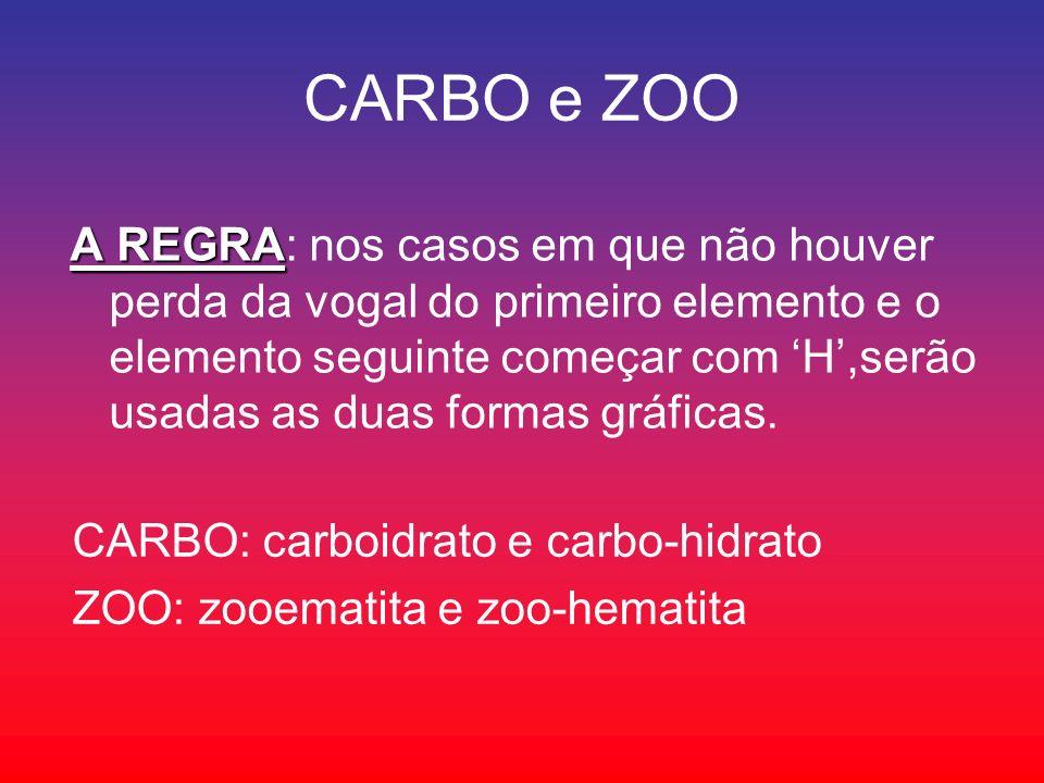 CARBO e ZOO A REGRA A REGRA: nos casos em que não houver perda da vogal do primeiro elemento e o elemento seguinte começar com H,serão usadas as duas formas gráficas.