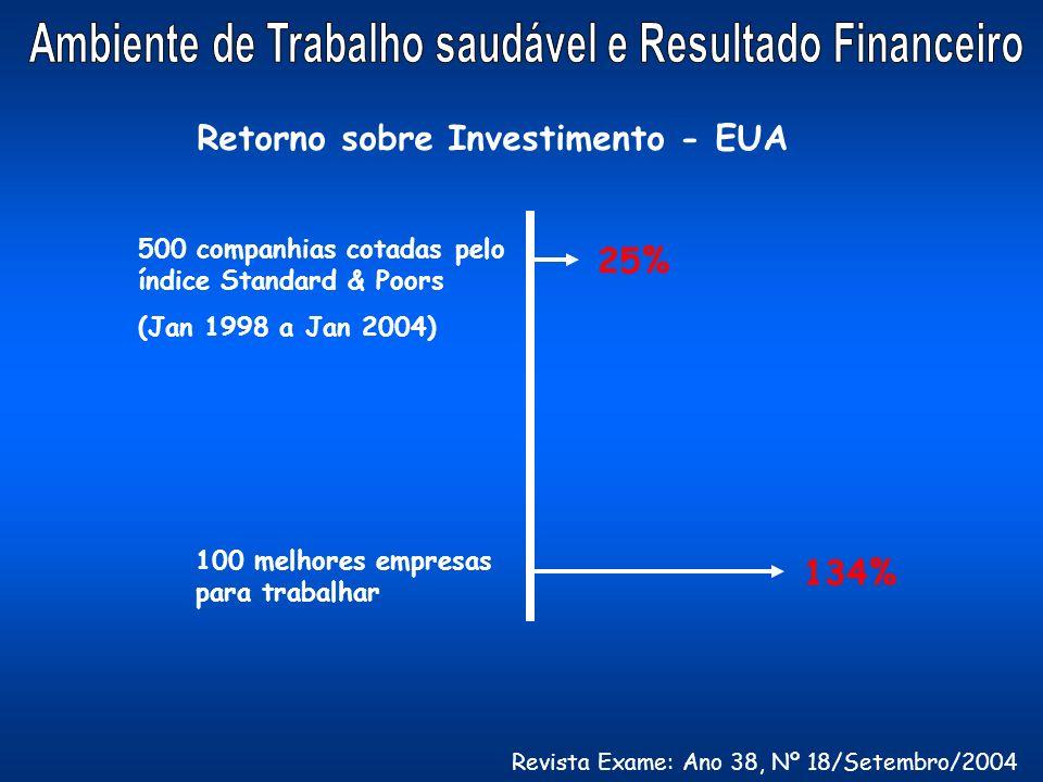 Retorno sobre Investimento - EUA 25% 500 companhias cotadas pelo índice Standard & Poors (Jan 1998 a Jan 2004) 100 melhores empresas para trabalhar 13