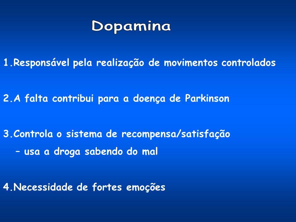 1.Responsável pela realização de movimentos controlados 2.A falta contribui para a doença de Parkinson 3.Controla o sistema de recompensa/satisfação – usa a droga sabendo do mal 4.Necessidade de fortes emoções