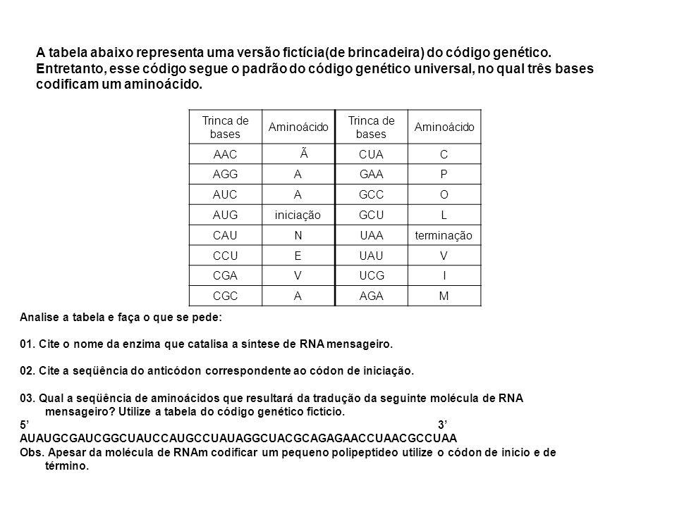 A tabela abaixo representa uma versão fictícia(de brincadeira) do código genético. Entretanto, esse código segue o padrão do código genético universal