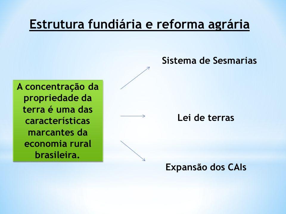 Estrutura fundiária e reforma agrária A concentração da propriedade da terra é uma das características marcantes da economia rural brasileira. Sistema