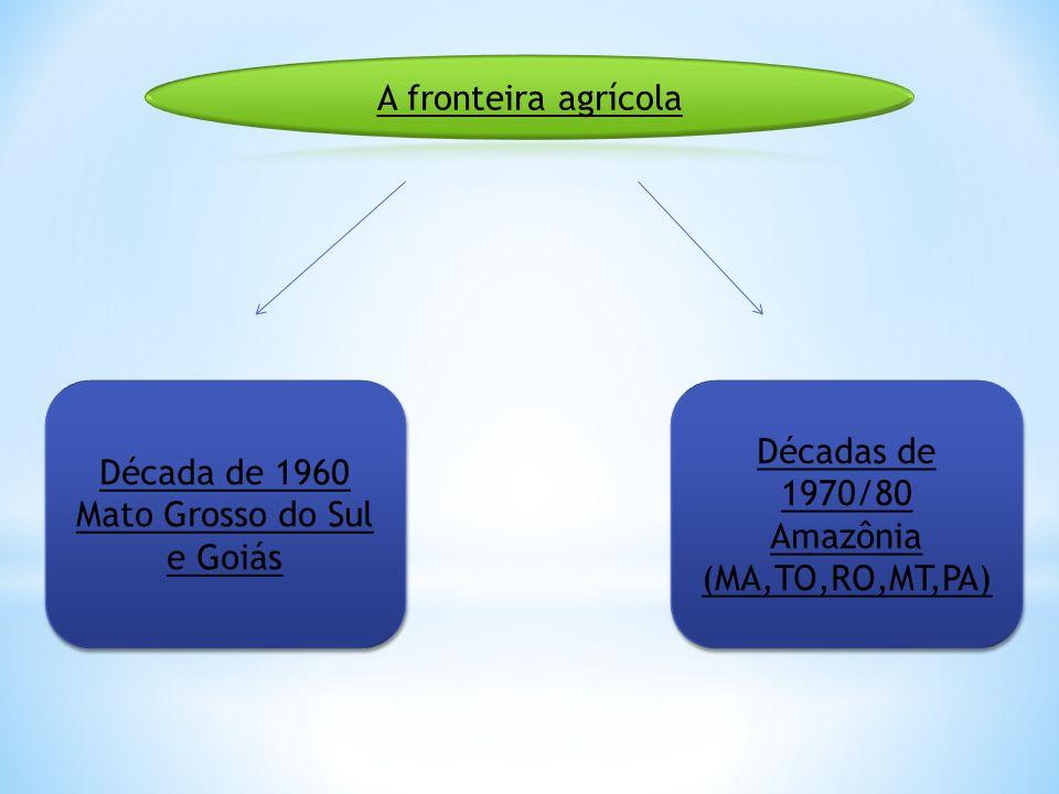 Década de 1960 Mato Grosso do Sul e Goiás Década de 1960 Mato Grosso do Sul e Goiás Décadas de 1970/80 Amazônia (MA,TO,RO,MT,PA) Décadas de 1970/80 Am