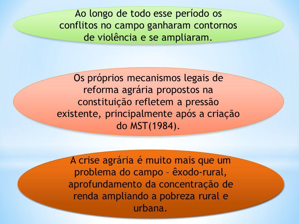Ao longo de todo esse período os conflitos no campo ganharam contornos de violência e se ampliaram. Os próprios mecanismos legais de reforma agrária p