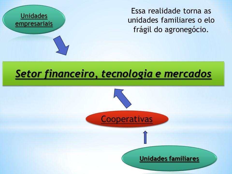 Setor financeiro, tecnologia e mercados Cooperativas Essa realidade torna as unidades familiares o elo frágil do agronegócio.