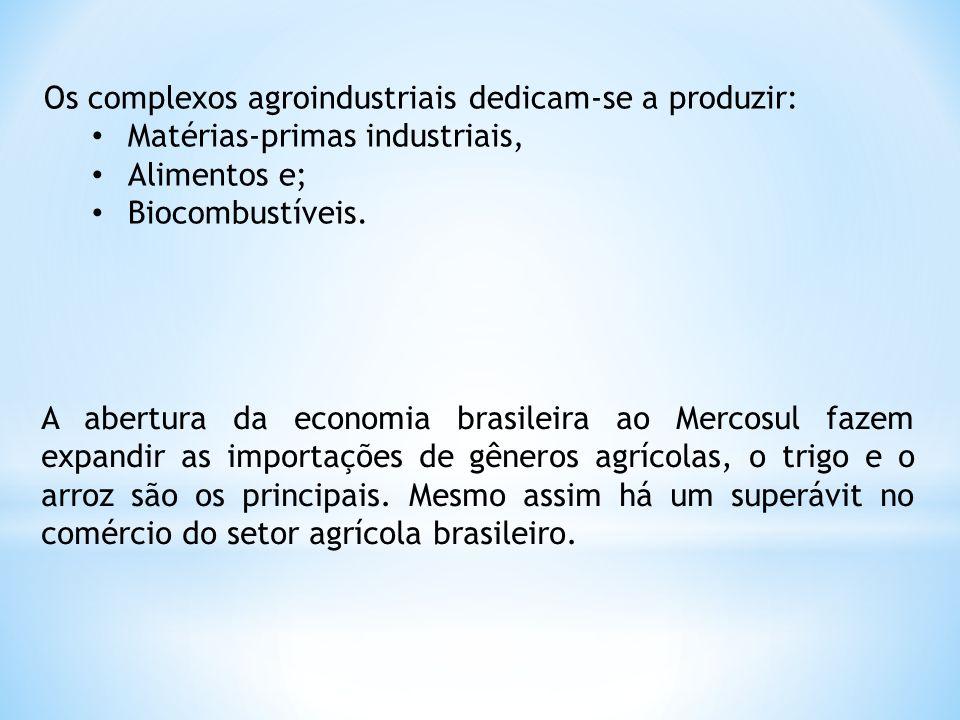 Os complexos agroindustriais dedicam-se a produzir: Matérias-primas industriais, Alimentos e; Biocombustíveis. A abertura da economia brasileira ao Me