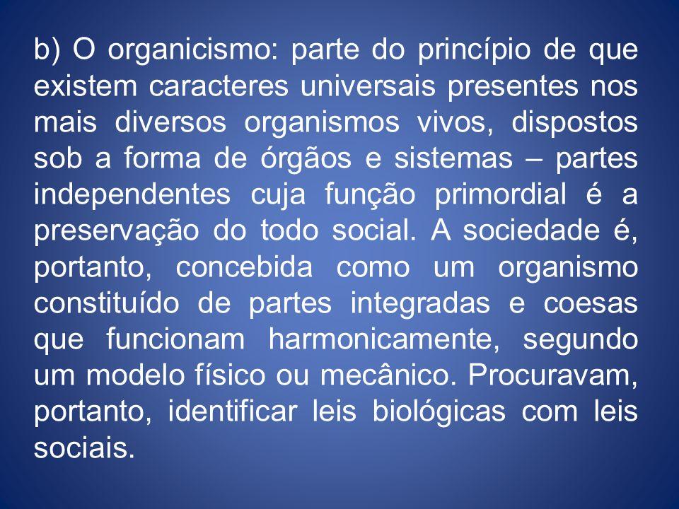 b) O organicismo: parte do princípio de que existem caracteres universais presentes nos mais diversos organismos vivos, dispostos sob a forma de órgão