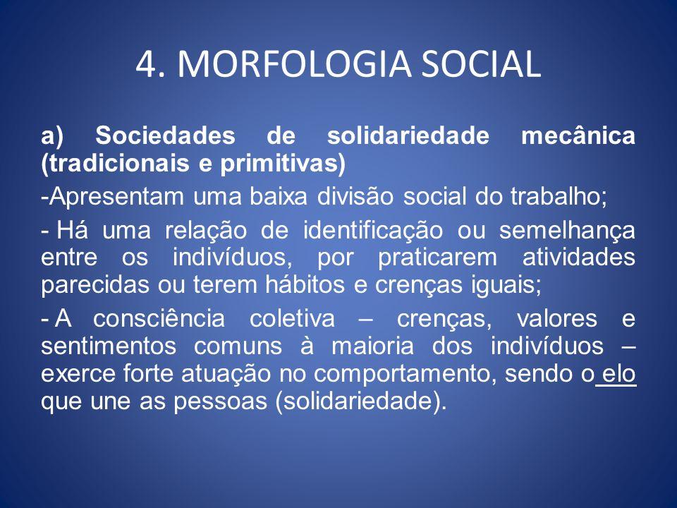 4. MORFOLOGIA SOCIAL a) Sociedades de solidariedade mecânica (tradicionais e primitivas) -Apresentam uma baixa divisão social do trabalho; - Há uma re