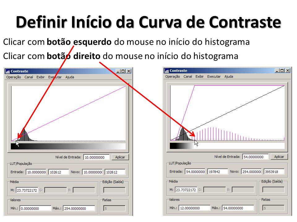 Definir Início da Curva de Contraste Clicar com botão esquerdo do mouse no início do histograma Clicar com botão direito do mouse no início do histogr