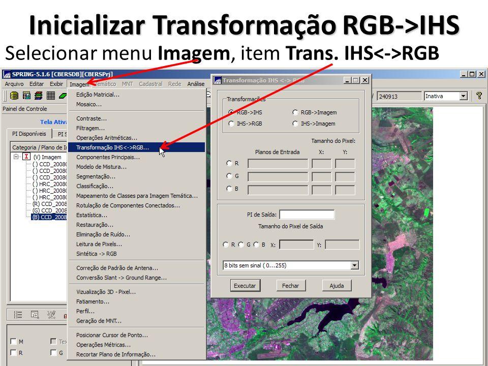 Definir PI Associado ao Componente Vermelho Selecionar transformação RGB->IHS Selecionar PI Vermelho (R) Selecionar PI CCD_20080605_157_1 18_3_Cont Clicar em Executar associação