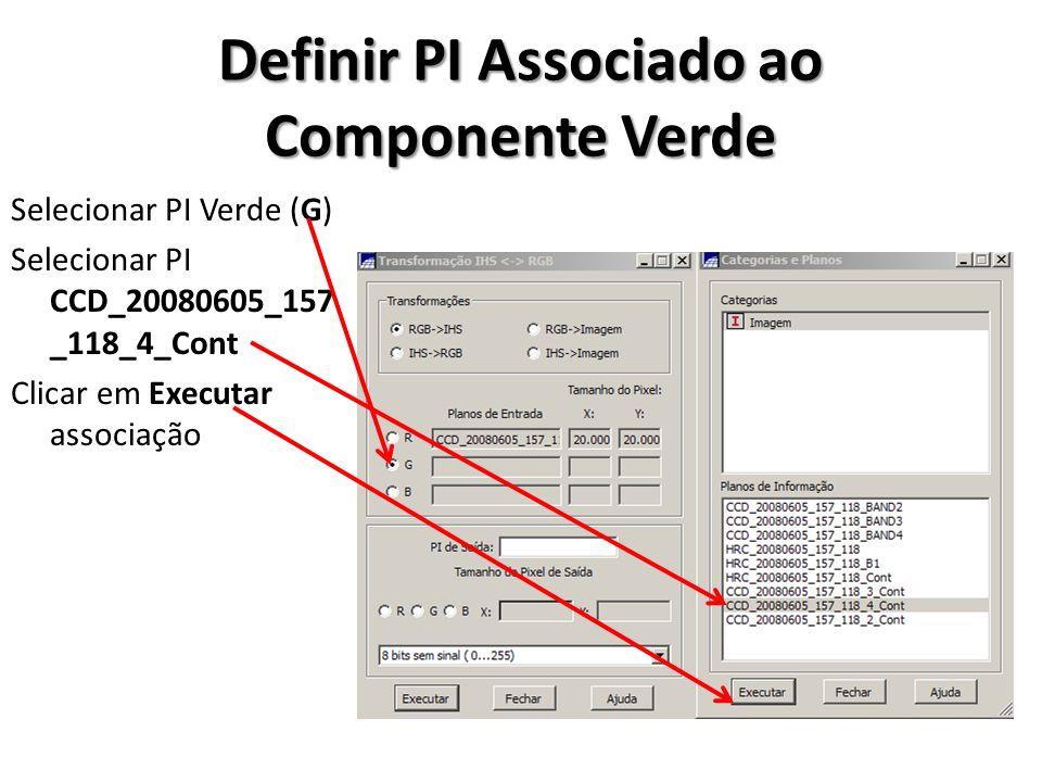 Definir PI Associado ao Componente Verde Selecionar PI Verde (G) Selecionar PI CCD_20080605_157 _118_4_Cont Clicar em Executar associação