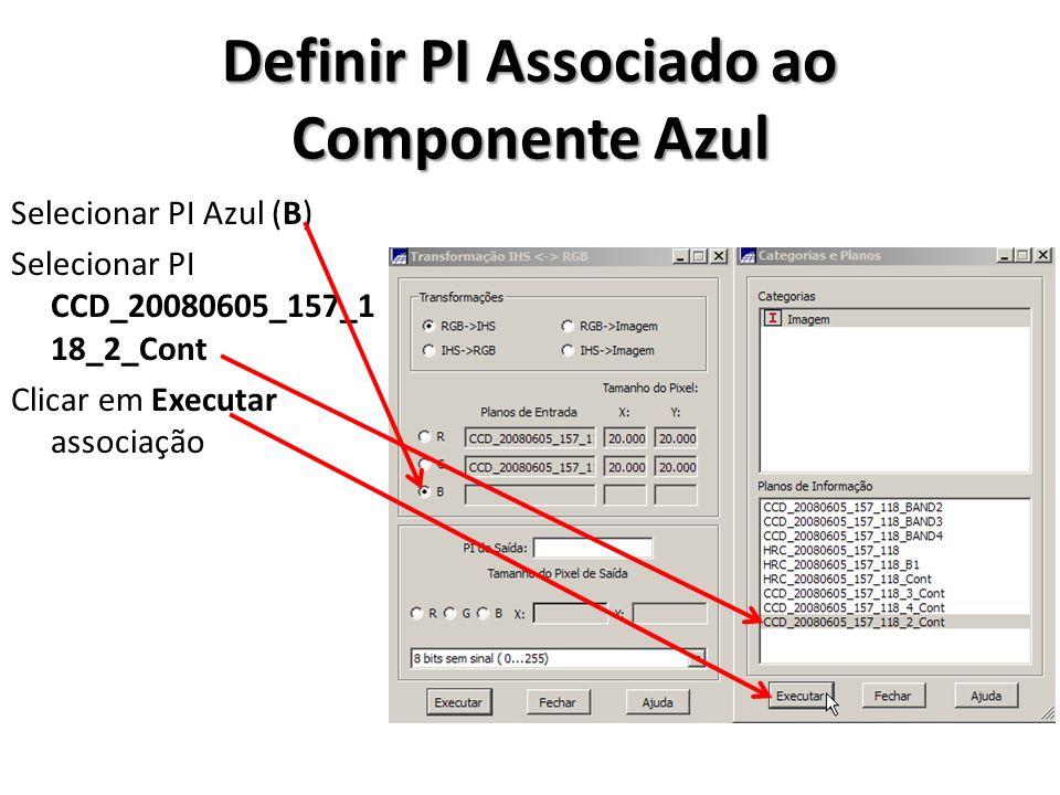 Executar Transformação RGB->IHS Definir nomes dos PIs de saída CCD_20080605_3R4G2B Selecionar tamanho do pixel de saída igual ao do canal vermelho (R) Clicar em Executar