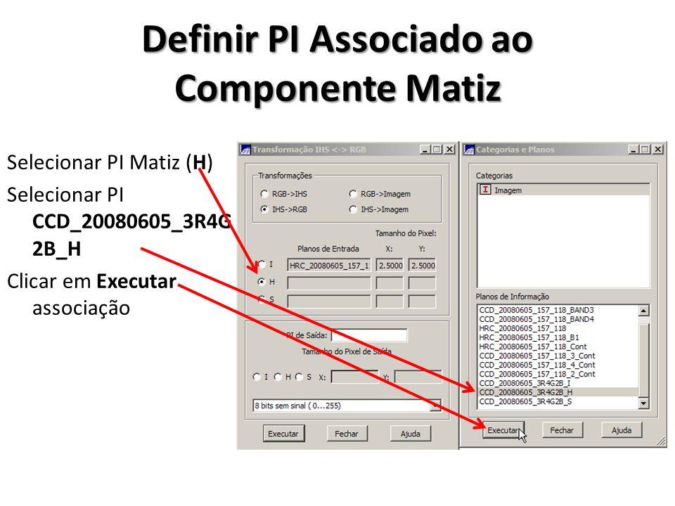 Definir PI Associado ao Componente Saturação Selecionar PI Saturação (S) Selecionar PI CCD_20080605_3R4G 2B_S Clicar em Executar associação