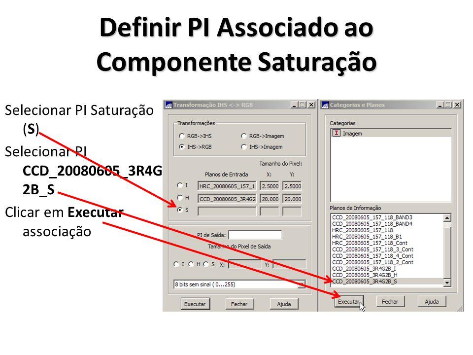 Executar Transformação IHS->RGB Definir nome dos PIs de saída HRC_CCD_20080605_3R4G2B Selecionar tamanho do pixel de saída igual ao do canal intensidade (I) Clicar em Executar