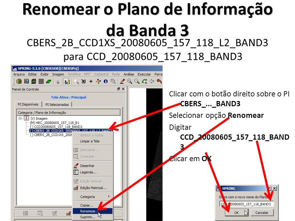 Renomear o Plano de Informação da Banda 4 CBERS_2B_CCD1XS_20080605_157_118_L2_BAND4 para CCD_20080605_157_118_BAND4 Clicar com o botão direito sobre o PI CBERS_..._BAND4 Selecionar opção Renomear Digitar CCD_20080605_157_118_BAND 4 Clicar em OK