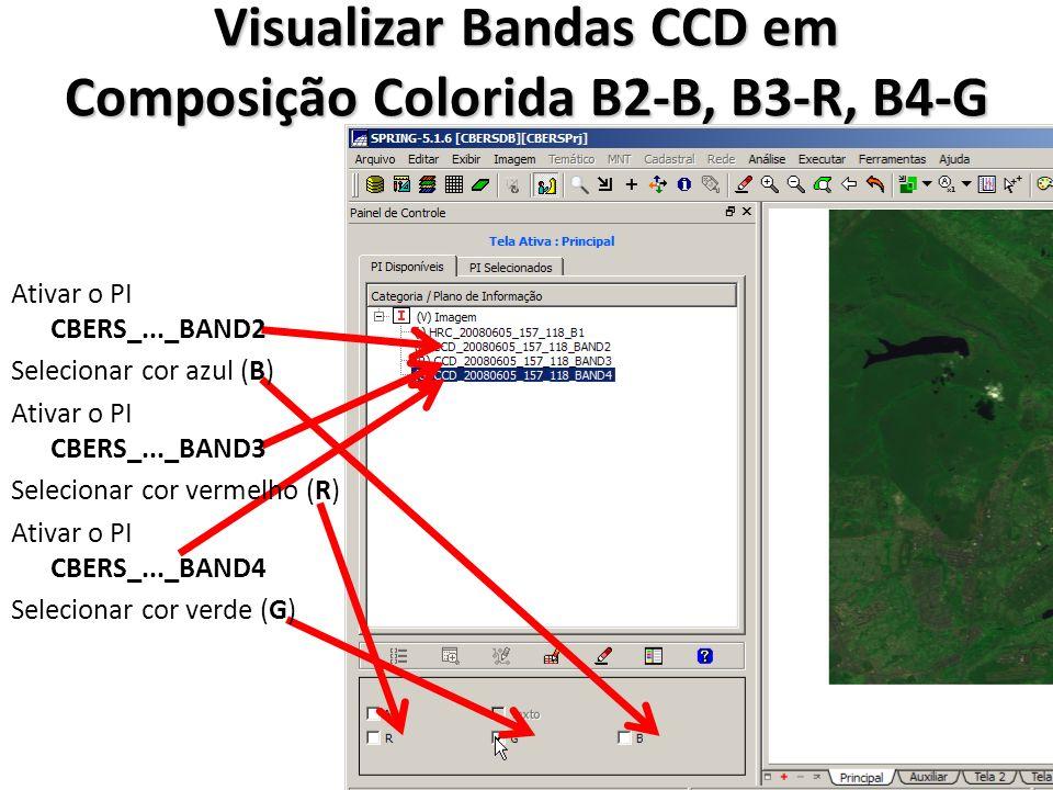 Visualizar Bandas CCD em Composição Colorida B2-B, B3-R, B4-G Ativar o PI CBERS_..._BAND2 Selecionar cor azul (B) Ativar o PI CBERS_..._BAND3 Selecion