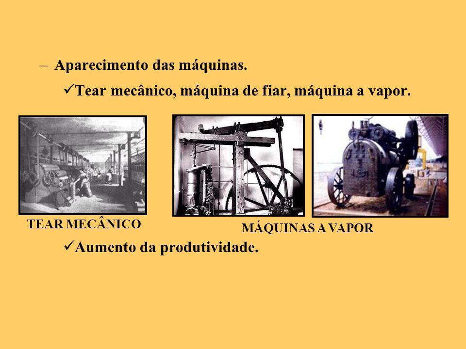 –Aparecimento das máquinas. Tear mecânico, máquina de fiar, máquina a vapor. Aumento da produtividade. TEAR MECÂNICO MÁQUINAS A VAPOR