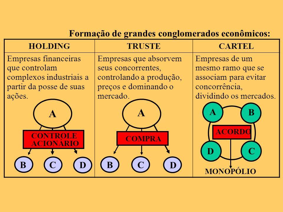 Formação de grandes conglomerados econômicos: HOLDINGTRUSTECARTEL Empresas financeiras que controlam complexos industriais a partir da posse de suas a
