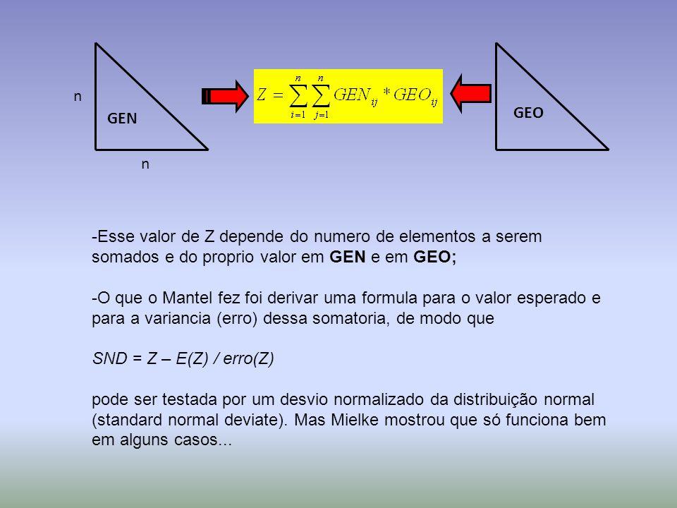 n n GEO GEN -Esse valor de Z depende do numero de elementos a serem somados e do proprio valor em GEN e em GEO; -O que o Mantel fez foi derivar uma fo