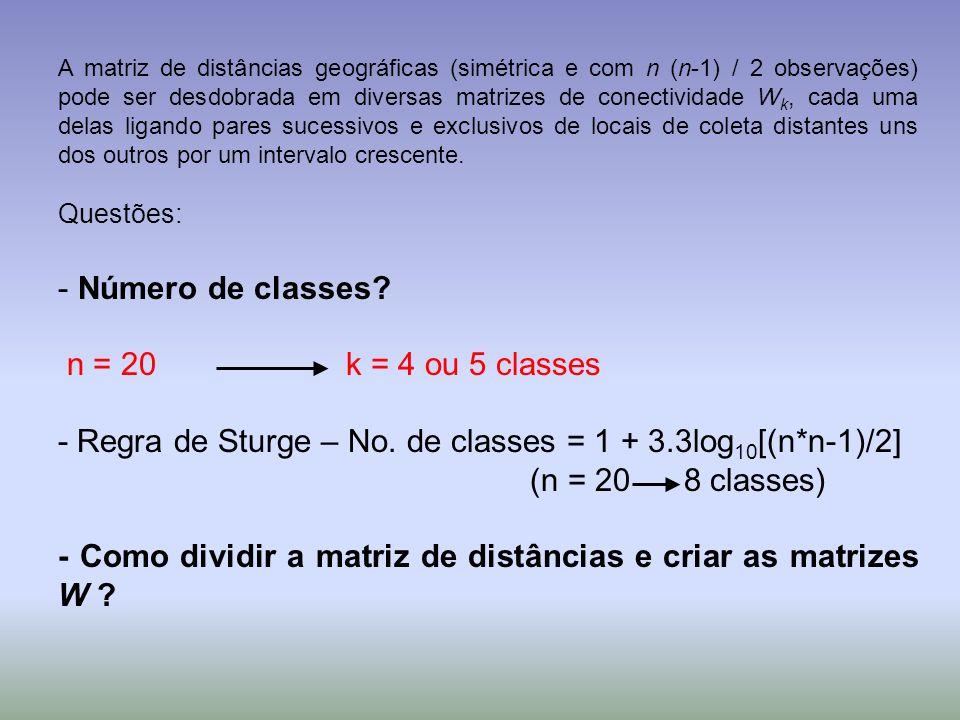 A matriz de distâncias geográficas (simétrica e com n (n-1) / 2 observações) pode ser desdobrada em diversas matrizes de conectividade W k, cada uma d