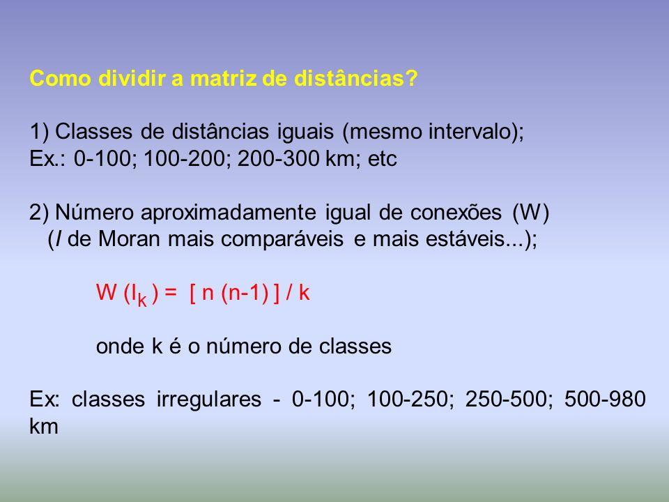 Como dividir a matriz de distâncias? 1) Classes de distâncias iguais (mesmo intervalo); Ex.: 0-100; 100-200; 200-300 km; etc 2) Número aproximadamente