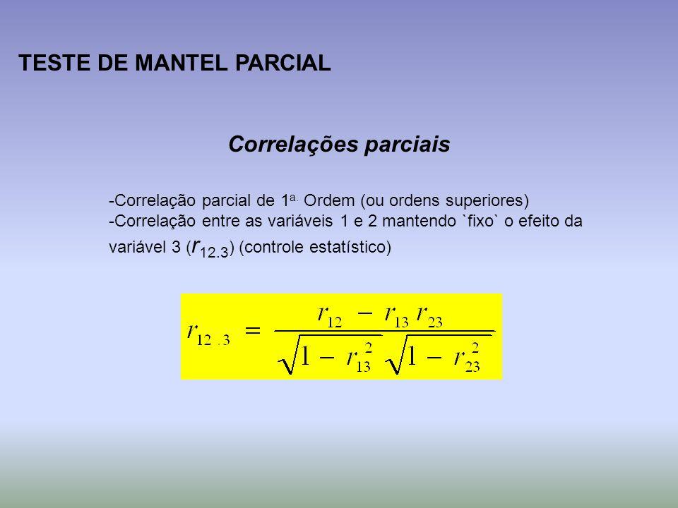 TESTE DE MANTEL PARCIAL Correlações parciais -Correlação parcial de 1 a. Ordem (ou ordens superiores) -Correlação entre as variáveis 1 e 2 mantendo `f