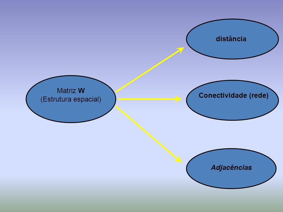 Matriz W (Estrutura espacial) distância Adjacências Conectividade (rede)