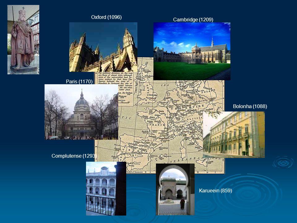Cambridge (1209) Oxford (1096) Paris (1170) Complutense (1293) Bolonha (1088) Karueein (859)