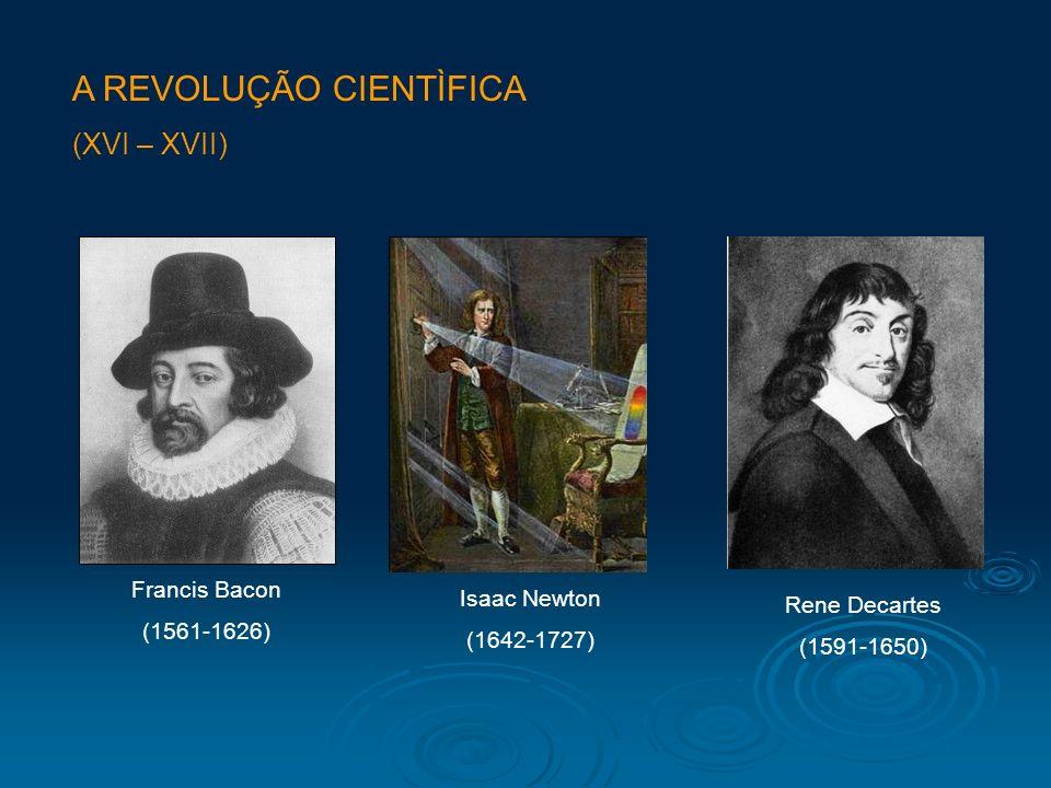 A REVOLUÇÃO CIENTÌFICA (XVI – XVII) Francis Bacon (1561-1626) Isaac Newton (1642-1727) Rene Decartes (1591-1650)