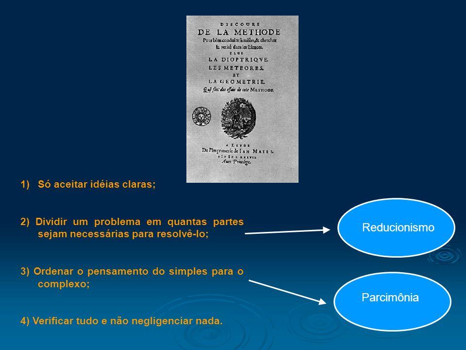 1)Só aceitar idéias claras; 2) Dividir um problema em quantas partes sejam necessárias para resolvê-lo; 3) Ordenar o pensamento do simples para o comp