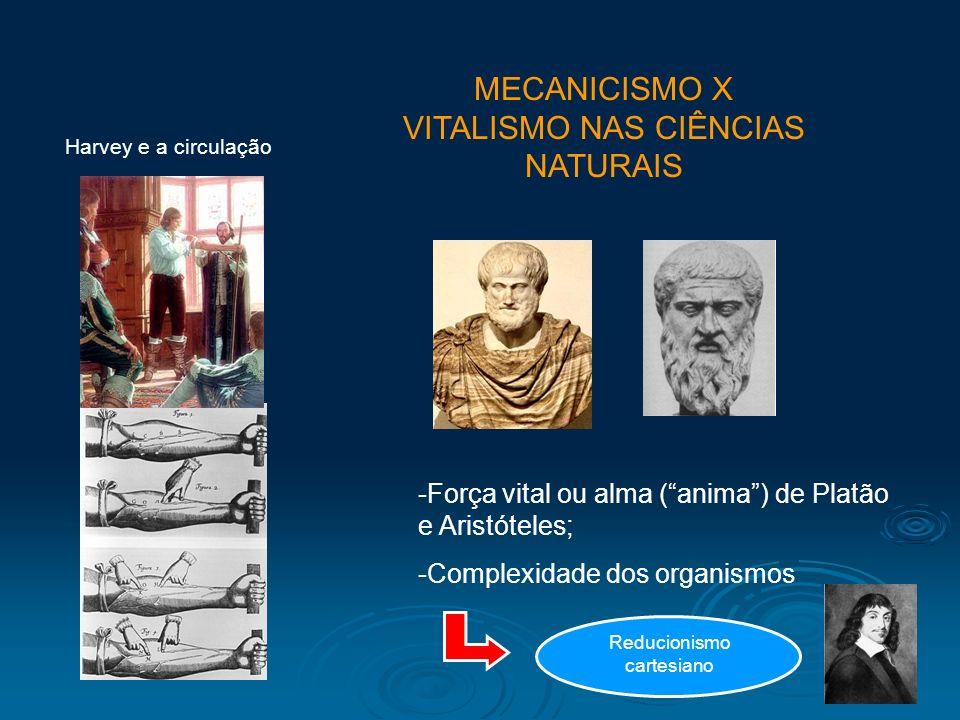 MECANICISMO X VITALISMO NAS CIÊNCIAS NATURAIS Harvey e a circulação -Força vital ou alma (anima) de Platão e Aristóteles; -Complexidade dos organismos